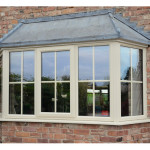 Cream PVCu square bay window